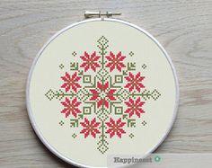 cross stitch pattern nordic folk ornament geometric by Happinesst Folk Embroidery, Learn Embroidery, Cross Stitch Embroidery, Embroidery Patterns, Modern Cross Stitch Patterns, Cross Stitch Designs, Motifs Blackwork, Bordado Popular, Diy Broderie