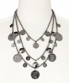 Look what I found on #zulily! Black & Silver Coin Tiered Necklace by Pavcus Designs #zulilyfinds