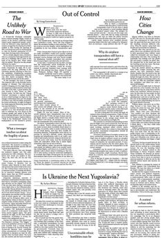 NYT OP-ED Tuesday March 19, 2014. The missing malaysian jet points to concerns over Russia annexing the Crimea from the Ukraine.