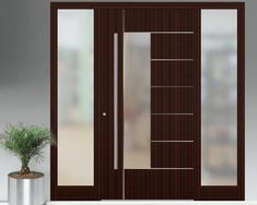 wood andglass doors The pivot door was made with materials of