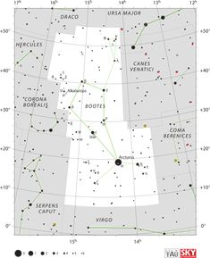 Diagram showing star positions and boundaries of the Boötes constellation and its surroundings