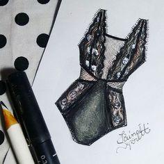 Croquis lingerie, feutre et crayon blanc