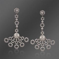 "Mikimoto 7.5mm Akoya Pearl and 1.45 ct. t.w. ""Lace""; Diamond Earrings in 18kt White Gold"