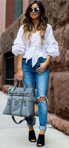 cute outfit idea: bag + heels + blouse + rips