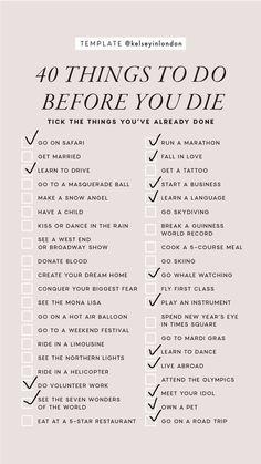 Bucket List For Teens, Bucket List Life, Life Goals List, Goal List, Organisation Journal, Life Skills, Life Lessons, Bucket List Before I Die, Travel Checklist