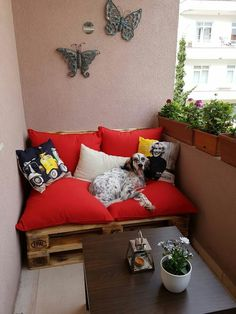 Even if your balcony is too small it can be transformed in to a cozy beautiful space..here are some examples. Put some light plants and some dyi furniture if possible..you can buy them as well.