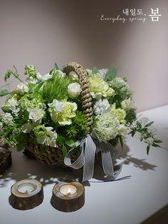 남부터미널 꽃집 내일도봄 : 화이트+그린 꽃바구니 (상견례 꽃바구니) : 네이버 블로그
