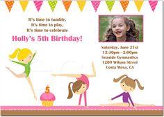 printable gymnastics tumbling birthday party invitation  birthday, invitation samples