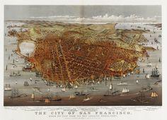 A detailed bird's eye view illustration of 1878 San Francisco (5000x3617)