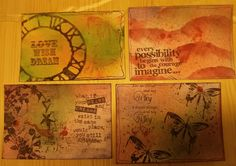 Hand printed postcards from our craft group