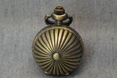 Stripe Grooved Ball Pocket Watch Antique Bronze by SUPPLIESBAR