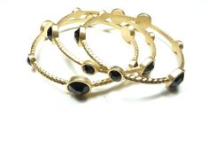 Black Jeweled Bangle Set
