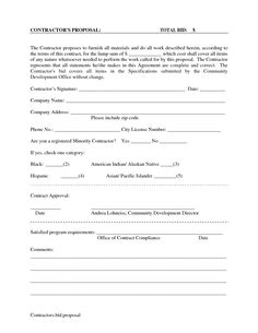 printable blank bid proposal forms scope of work template construction bids residential construction