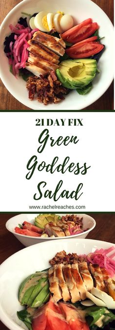 When Panera released their Green Goddess Cobb Salad with Chicken in 2016, I thought it was the most delicious thing. Avocado, pickled onion, BACON... yum! Plus it was FULL of protein! And I was obsessed with the dressing. I really wanted to recreate this for my 21 Day Fix meal plan. I made a big bowl of my own copycat Panera version for our family barbecue. It was a hit! Fit my portion containers perfectly!