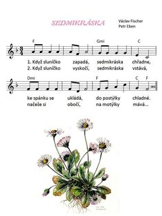 sedmikráska Kids Songs, Music Notes, Sheet Music, Crafts For Kids, Preschool, Teaching, Education, Printables, Manualidades