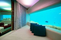 Huvafen Fushi, North Male Atoll, Maldives // Underwater spa lets you get a massage while gazing out across the ocean floor