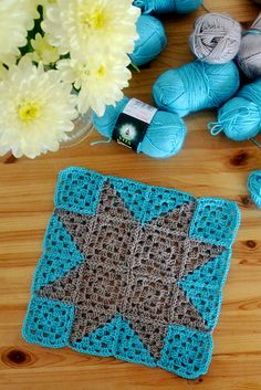 8 squares = One star = 8 squares of each color, 19 + 19 gr I have enough yarn for star blanket. One side of star block is Crochet Quilt Pattern, Crochet Square Patterns, Crochet Flower Patterns, Crochet Chart, Crochet Squares, Crochet Blanket Patterns, Crochet Motif, Knitting Patterns, Scrap Yarn Crochet