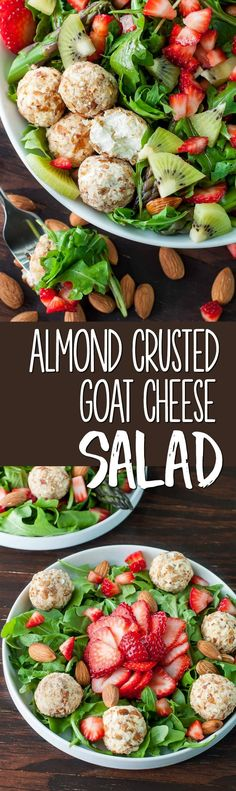 Almond Crusted Goat Cheese Salad with Strawberries and Kiwi