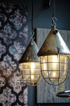 Large Industrial Caged Bunker Lamp from EOW, 1950s for sale at Pamono Industrial Ceiling Lights, Ceiling Lamps, Steel Mesh, Bunker, Save Energy, Colored Glass, Pendant Lamp, Vintage Designs, Crates