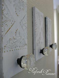 DIY glass knob towel hooks