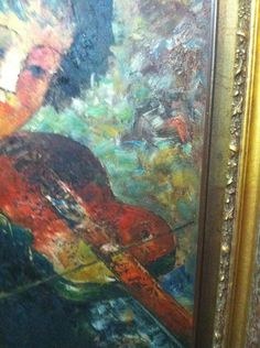 "Antique Gold Framed OIL Painting ""THE Fiddler"" BY Thompson 68 X 79 CM | eBay"