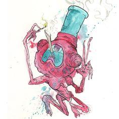 surreal bong-monster illustration by glönn. get high