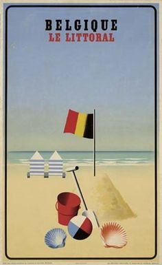 belgië de kust vintage ad poster LEO MARFURT belgium 1938 NEW rare hot Brand New. Will ship in a tube. Reproduction of aged original vintage art print. Great wall decor art print a Vintage Beach Posters, Vintage Advertising Posters, Vintage Advertisements, Vintage Ads, Poster Vintage, Retro Poster, Railway Posters, Beach Canvas, Travel Illustration