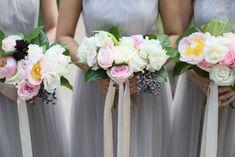 Pink peony bridesmai