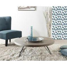MELBOURNE Table basse ronde scandinave en MDF placage chêne verni et métal noir - 90x90 cm