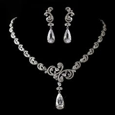 Another stunning new arrival! Antique Silver CZ Wedding Jewelry Set! www.affordableelegancebridal.com
