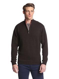 75% OFF Alex Cannon Men's Reversible 1/4 Zip Sweater (Coco Bean Heather)