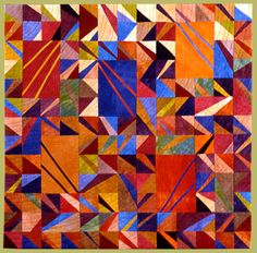 Janet Steadman, Fiber Artist and Quiltmaker from Clinton, WA: information about the artist and several galleries featuring her art quilts. Geometric Shapes Art, Geometric Solids, Quilting Projects, Quilting Designs, Contemporary Quilts, Quilt Modern, Gees Bend Quilts, Flying Geese Quilt, Log Cabin Quilts