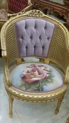 I must find a chair to refurbish similarly. Victorian Furniture, Funky Furniture, French Furniture, Classic Furniture, Unique Furniture, Shabby Chic Furniture, Furniture Makeover, Vintage Furniture, Furniture Decor