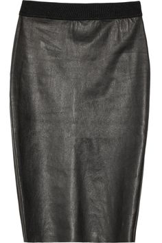 By Malene Birger | Olinas leather and jersey paneled pencil skirt | NET-A-PORTER.COM