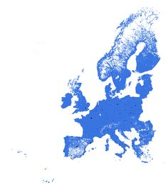 European Population Density: The Black & Blue Areas Have Identical Populations
