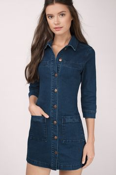 Breaking Ties Denim Shirt Dress at Tobi.com #shoptobi