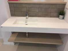 Bathroom | Corian by Dupont | Glacier white Special construction by Petsis Corian Dupont, Sink, Vanity, Construction, Album, Bathroom, Home Decor, Sink Tops, Painted Makeup Vanity