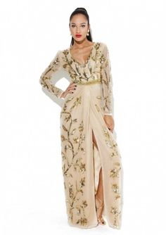 """Embellished Dress Made from a lightweight polyfabricAll Over EmbellishmentV NeckFull LengthSleevesDraped Wrapped Skirt with Slit Fabric:100 % Polyester Care: Delicate Hand Wash Model is a size 8 and wearing a UK size 8 Model Height: 5""""8, Taylor Dress, TAYLORDRESSBEIGE"""