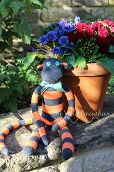 Large Orange and Grey Stripey Sock Monkey by TheVioletPincushion on Etsy