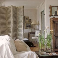 shabby chic living room fillers   love the room divider!  the living room we like the mix of styles the henri iv style cabinet ...
