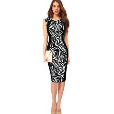 d1d00772f47 Bodycon Dress Women Vestidos Round Neck Printed 2016 Sexy Dress Club Wear  Sleeveless Knee Length Black Party Pencil Dresses-in Dresses from Women s  Clothing ...