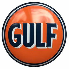 """Gulf Oil & Gas Round Sign- Gulf Oil was one of the many gasoline and oil companies to pop up in the early days of foosil fuels. Gulf Oil & Gas Round Sign Measures-14"""""""" Dia. Has holes for easy hanging!"""