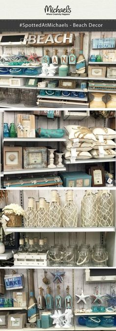It's easy to decorate your home, office or cottage with Beach inspired decor! Your local Michaels store has nautical decor from rope entwined bottles, faux starfish and seahorses, weathered signs and frames to pillows and more. Beach Cottage Style, Coastal Cottage, Beach House Decor, Coastal Decor, Coastal Style, Coastal Interior, Interior Design, Cottage Art, Beach Themed Decor