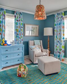 House of Turquoise -- Love the color of the walls against the bright white ceiling (ignore the fact that it's a kid's room) in this Hamptons beach house designed by Kati Curtis Designs.