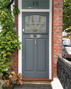 Front Door Paint Colors - Want a quick makeover? Paint your front door a different color. Here a pretty front door color ideas to improve your home's curb appeal and add more style! Front Door Paint Colors, Exterior Paint Colors, Exterior House Colors, Exterior Doors, Paint Colours, 1930s House Exterior Uk, Grey Front Doors, Painted Front Doors, Victorian Front Doors