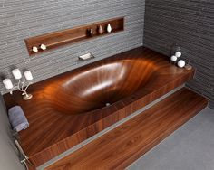Very sexy natural wood bath tub from yacht-builder Alegna