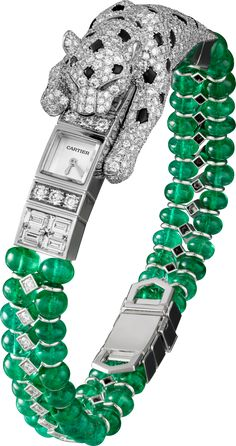 High Jewelry watch- White Gold,Emerald beads,Emeralds,Onyx, Diamonds- HPIO1141