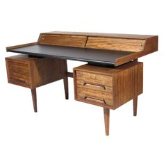 Milo Baughman Desk | From a unique collection of antique and modern desks at http://www.1stdibs.com/furniture/storage-case-pieces/desks/. Company president prestige, fashion maven style.