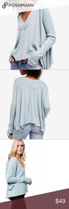 "FREE PEOPLE Oceanview Thermal Top NWT Retail Price: $68 New with Tags  Sizing: M 8-10 Color: Mint  FREE PEOPLE- We the Free- irresistibly soft long sleeves top featuring an easy swinging shape and a ribbed design. Structured V-neck, thumbholes, sheer fabrication. Measurements: bust 57"" length 23"" sleeve length 26""  Fabrics m: 50% cotton 50% rayon Free People Tops Tees - Long Sleeve"