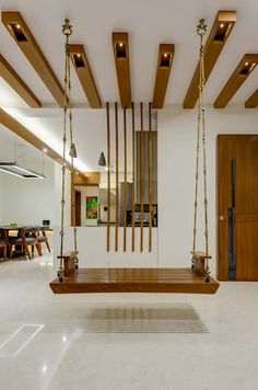 Interior 2 Modern living room by Studio Living Stone Modern Living Room Partition Design, Pooja Room Door Design, Room Partition Designs, Home Room Design, Wood Partition, Foyer Design, House Ceiling Design, Ceiling Design Living Room, Living Room Designs